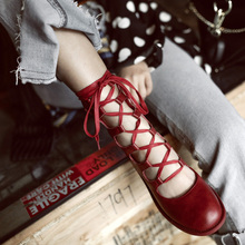 2019 Spring shoes womens leather cross strap retro black and white Roman boots artistic ballet net red gentle Yasilaiya