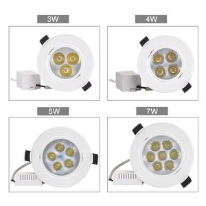 Image 4 - 20 pçs/lote atacado 3 w 4 5 7 led recesso teto downlight AC85 265V branco escudo puro/natural/branco quente