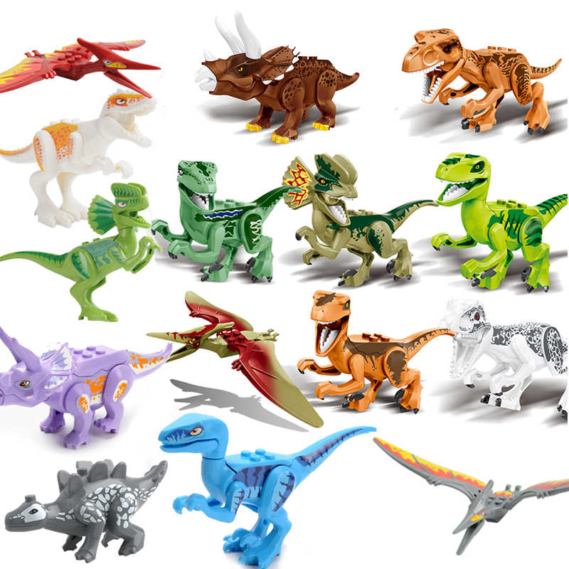 Marvel Jurassic World Dinosaurs Assemblage Blocks Playmobil 15pcs/lot Tyrannosaurus Triceratops Brick Toys For Children Gifts