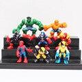 8 unids/lote Q versión Marvel Super Heroes figuras los vengadores capitán américa Hulk spiderman Batman Wolverine juguetes