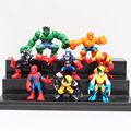 8pcs/lot Q Version Marvel Super Heroes Figures The Avengers Captain America Hulk Spider Man Batman Wolverine Toys