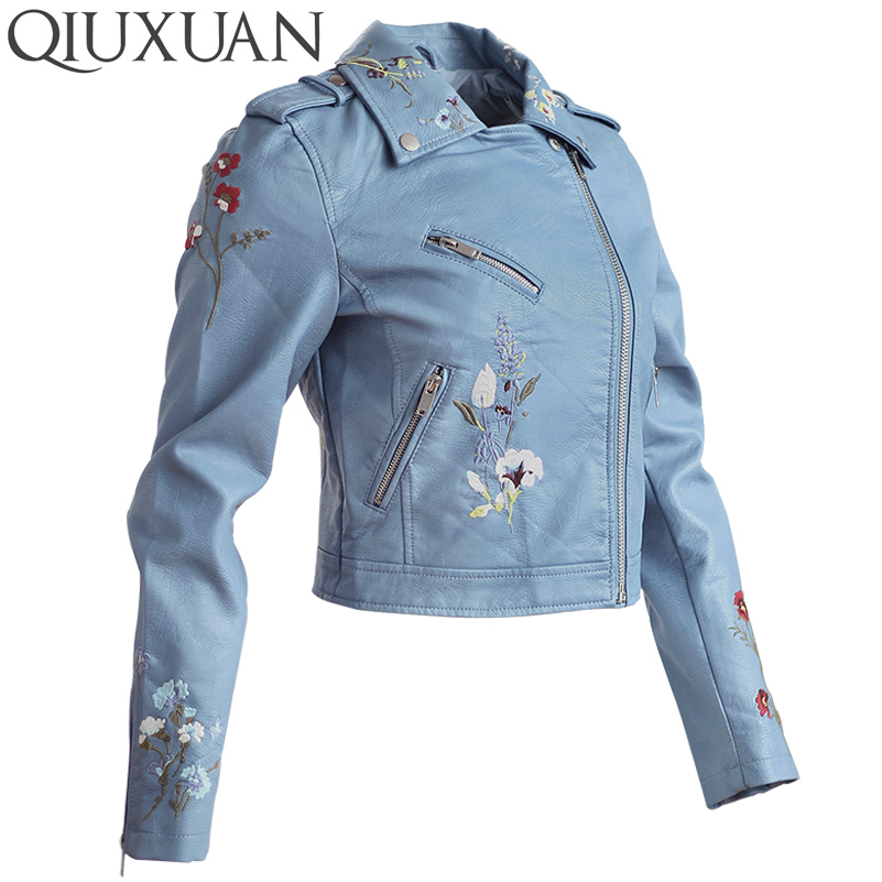 QIUXUAN Fashion Floral Embroidery Locomotive Jacket Women 2017 Spring Autumn Long Sleeve Loose Ladies Coats PU