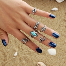 Simple Finger Vintage Bohemian Rings Set For Women Silver Gold Charms Retro Geometric Knuckle Boho Ring Jewelry