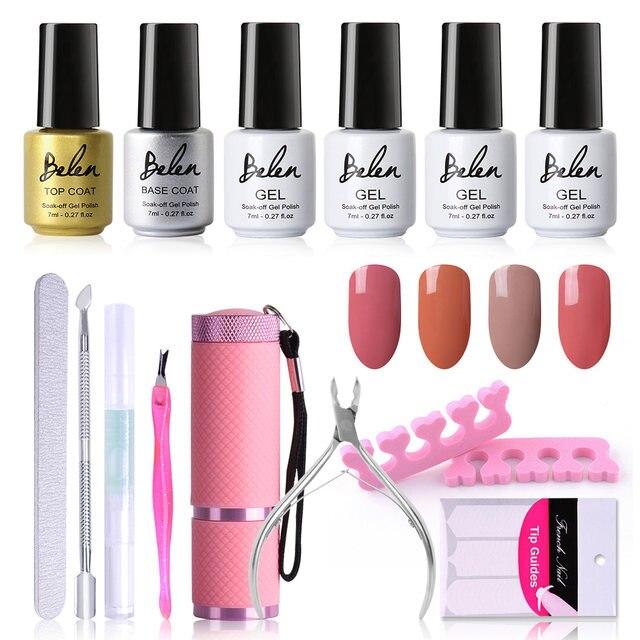 Online Shop Belen 7ml Gel Polish Nude Color Series Set 9W UV Lamp ...