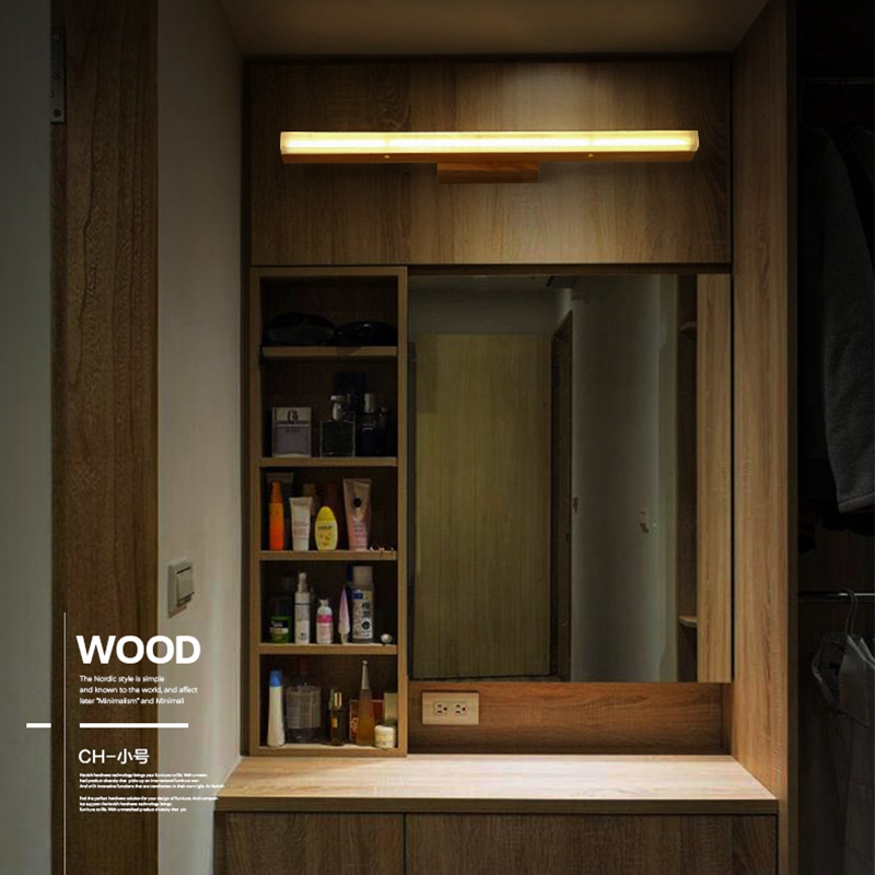 LukLoy Creative bois massif miroir phares Simple chinois salon applique chambre chevet lampe salle de bain mur LED lumière
