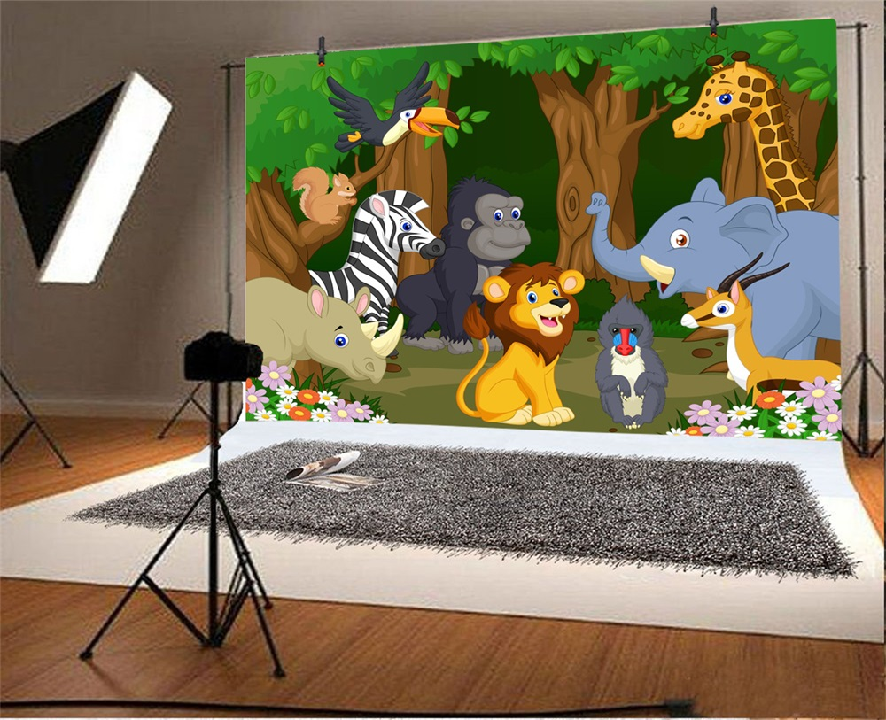 Laeacco Cartoon Forest Flowers Safari Theme Baby Birthday Children Photographic Background Photography Backdrop For Photo Studio in Background from Consumer Electronics
