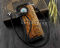 New Mens Handmade Vintage Biker Punk Carved Long Leather Wallet with Chain C6
