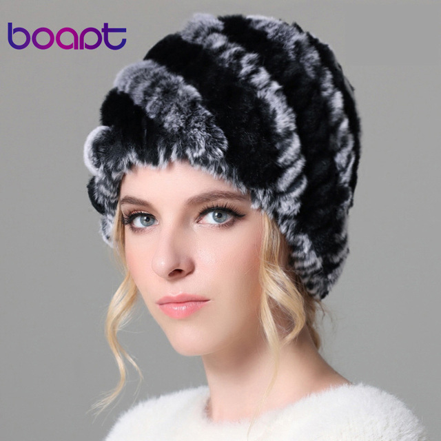 BOAPT Fashion stripe  Winter  Women's Hats Real Rex Rabbit Fur Hat Lady Winter Warm Beanie Caps Female Headgear for Women Cap