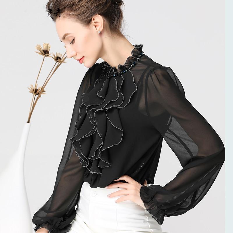 3D volants solide en mousseline de soie Blouse femmes chemise et hauts élégant bureau dames Blouses mode o-cou à manches longues grande taille chemises