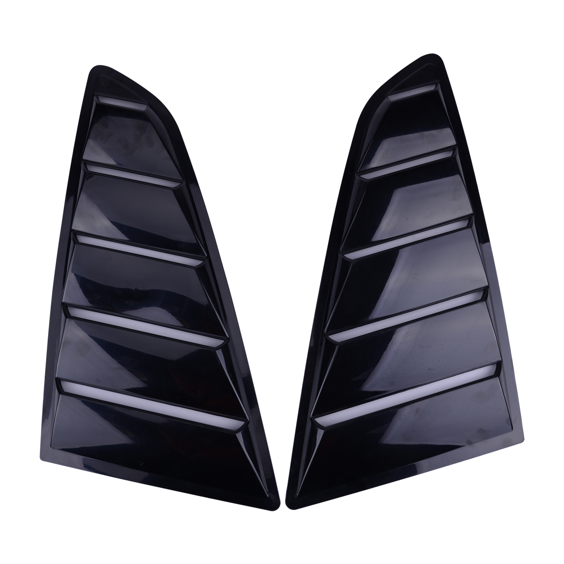DWCX Side Black ABS Deflector Vent Window Scoop Louver Cover Trim Sticker Fit For <font><b>Ford</b></font> <font><b>Mustang</b></font> <font><b>2015</b></font> 2016 2017 2018 image
