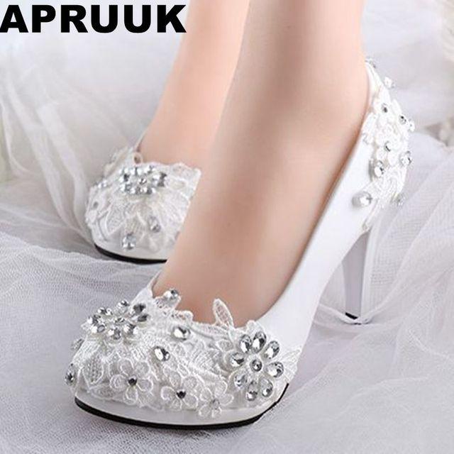 bajo alto talones zapatos de boda de novia blanco rhinestones encaje