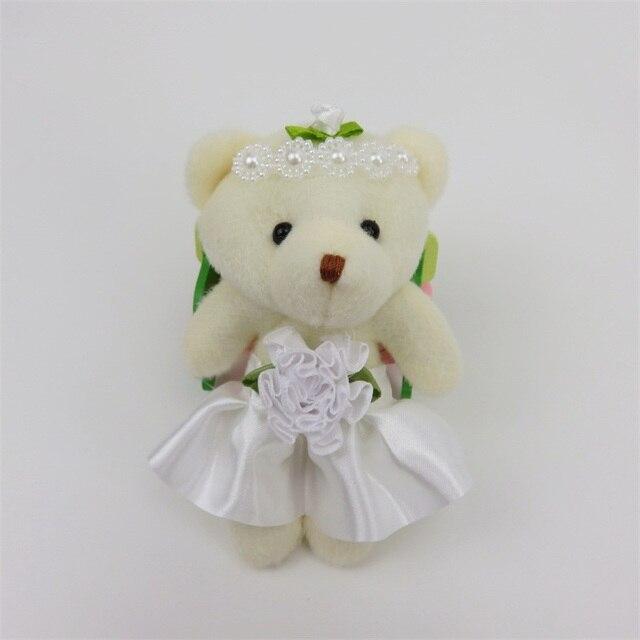 12CM 12pcs PP cotton teddy bear plush toys small pendant key chains stuffed animals Christmas gifts bear flower bouquets