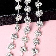 1Yard Fashion Silver Flower Stunning Clear Rhinestones Trim Handmade Applique Garment Costume Decoration DIY Wedding Belt
