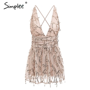 Image 5 - Simplee Deep v neck sequined sexy mesh women playsuit elegant Backless lining ladies short jumpsuit High wasit tassel overalls