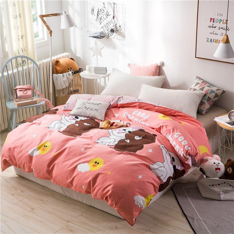 Black And White Cartoon Bear Pattern Bedding 100 Cotton Soft Duvet