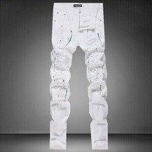 High Quality Jeans Men 100 Original Brand White Ripped Jeans 2016 New Designer Biker Denim Jeans Slim Fit Hip Hop Skinny Jeans