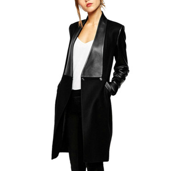 XUXI Leather Patchwork Slim Long 2019 Women Winter Jackets Coats Sleeved Knitted Wool Coat Chaqueta Mujer Female Overcoat FZ283 new fashion women female korean short type long sleeve slim motor zipper leather jackets coats