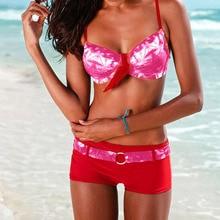 Women Swimsuits Summer Tie Up Sexy Print Swimwear Beachwear Siamese Swimsuit Bikini Set Bather Swimwear Women's Bodysuit Biquini