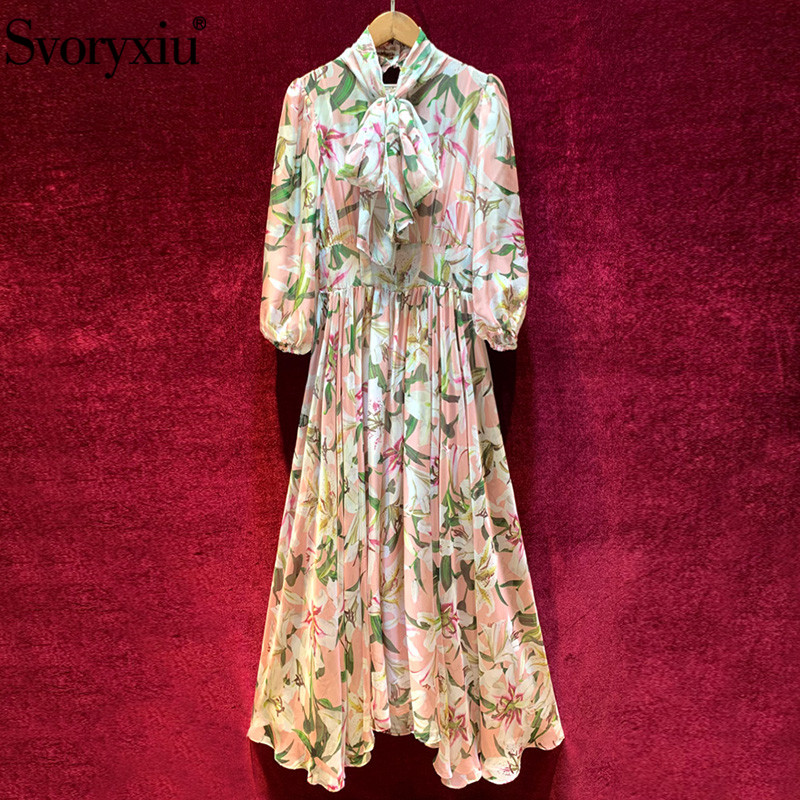 Svoryxiu Runway Designer Autumn lily Flower Print Lace Maxi Dress Women s Lantern Sleeve Bow Collar