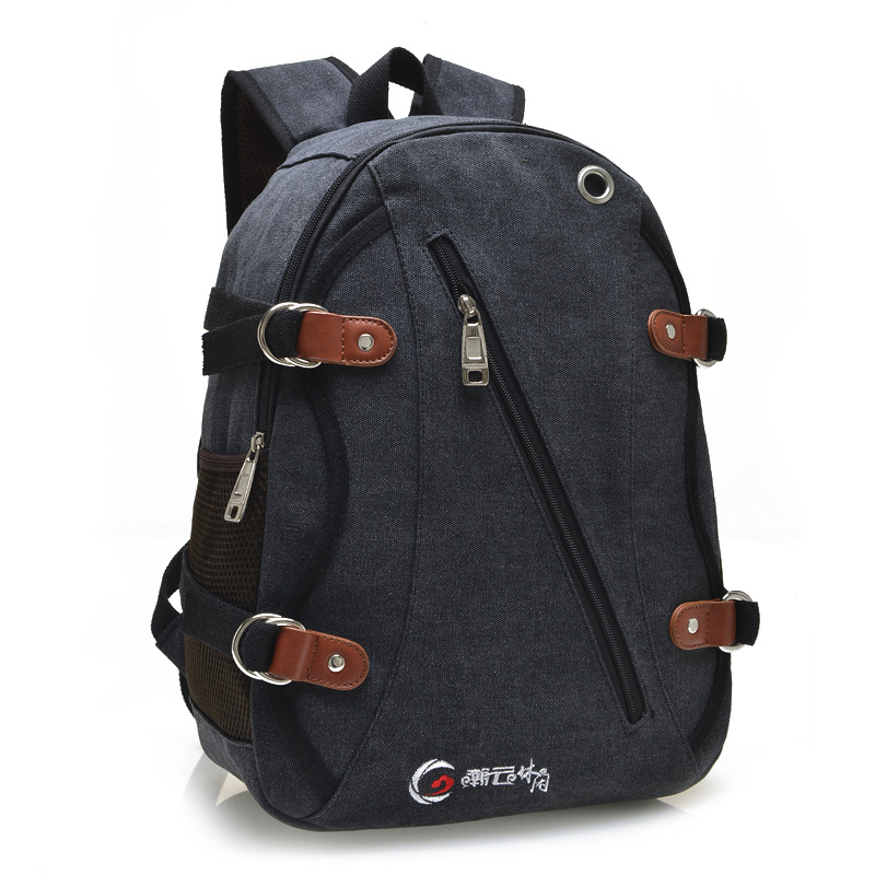 ФОТО Unisex Vintage Canvas Backpack Preppy Style Earphone Hole Outlet Backpack Travel Laptop Bag Books Rucksack Special Strap