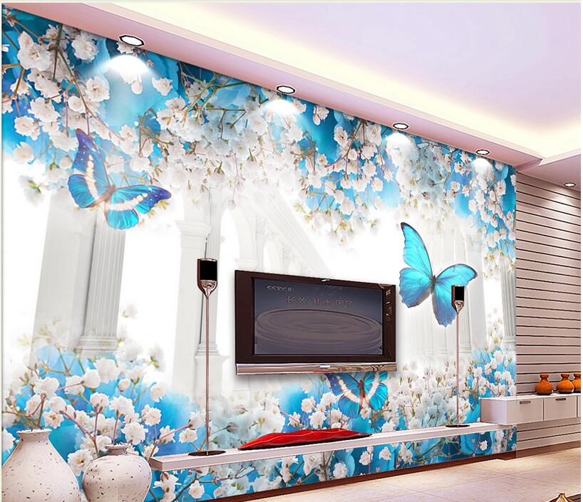 3d wallpaper custom photo non-woven mural modern Butterfly flower corridor painting 3d wall murals wallpaper for walls 3 d non woven bubble butterfly wallpaper design modern pastoral flock 3d circle wall paper for living room background walls 10m roll