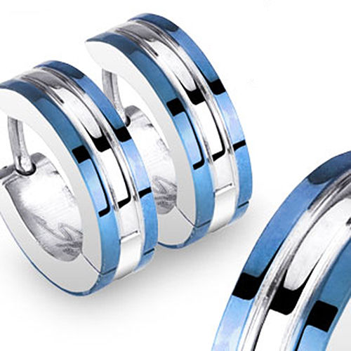 1PAIR High Quality Blue 316L Statinless Steel Earring Fashion Ear Stud Fake Ear Expander Mens Ear Ring Free Shipping