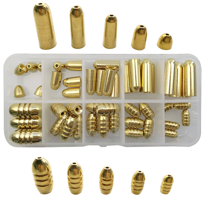 50pcs 5 Sizes Brass Fishing Sinker For Texas Rigs Carp Fishing Gold Bullet Shape Casting Lead Weights Sinkers Set With Box