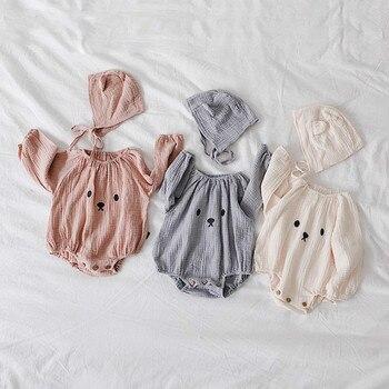 3d5093b0b Ropa de bebé niña manga larga bebé niño niña mamelucos + sombrero recién  nacido monos moda producto infantil Ropa bebé oso traje
