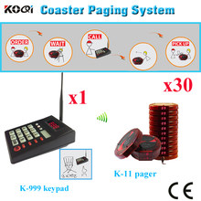 Smart Guest Paging System One Set With Keyboard Transmitter Coaster Pagers 3 Chager Base Shipping Free( 1 keypad + 30pcs pager)(China)