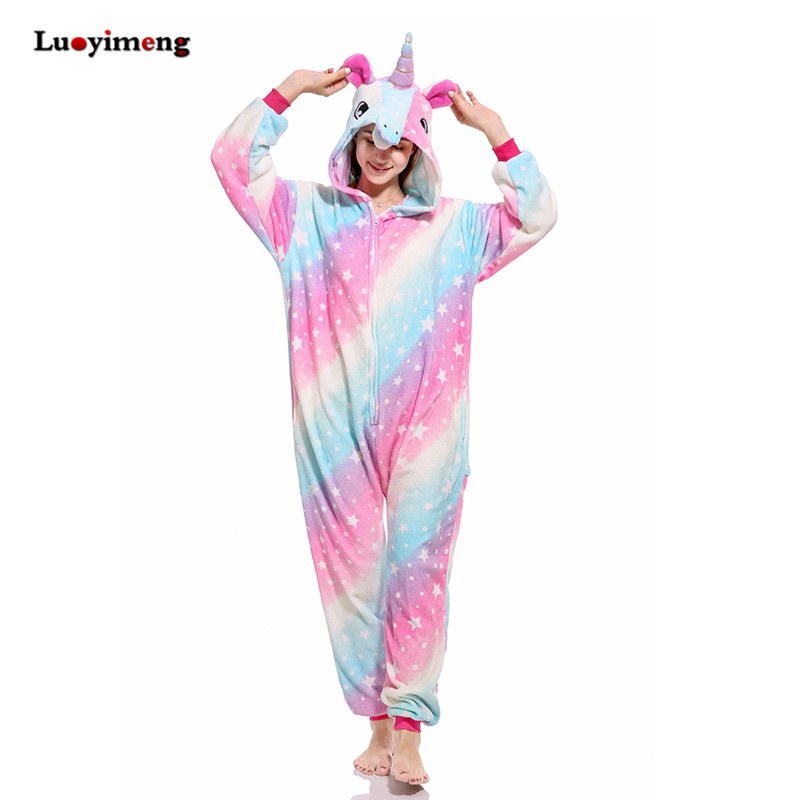 Winter Pink Unicorn Pajama Sets Cartoon Sleepwear Women Pajamas Flannel Animal Stitch Panda Unicorn Pyjama Kigurumi Nightwear