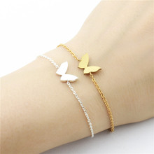 Petite Brushed Gold Color Butterfly Bracelets For Women Fashion Jewellery Stainless Steel Bracelet Party Gifts Pulseras Mujer