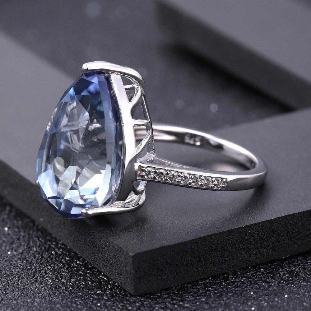 Image 3 - Женское кольцо для коктейлей GEMS BALLET, кольцо из серебра 925  пробы с натуральным иолитом и синим мистическим кварцем, 10.68CtКольца