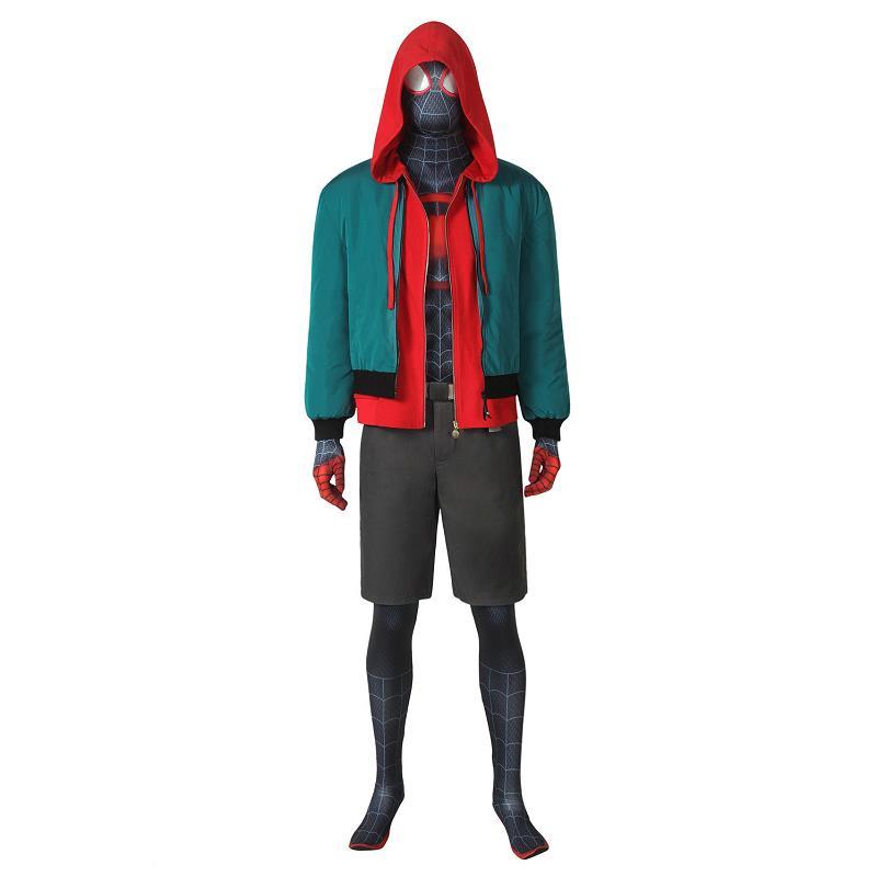 Spider-Man:Into The Spider-Verse Miles Morales Cosplay Costume Jumpsuit Hoodies Coat Halloween Superhero Jacket Bodysuit Outfit