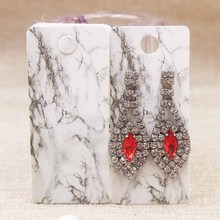 4*9CM white marble paper earring card tag kraft flower design DIy Thank you full color print jewelry label 100pc