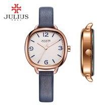 Novo julius relógio feminino japão horas de quartzo bonito vestido de moda fina pulseira de couro menina retro presente aniversário 928