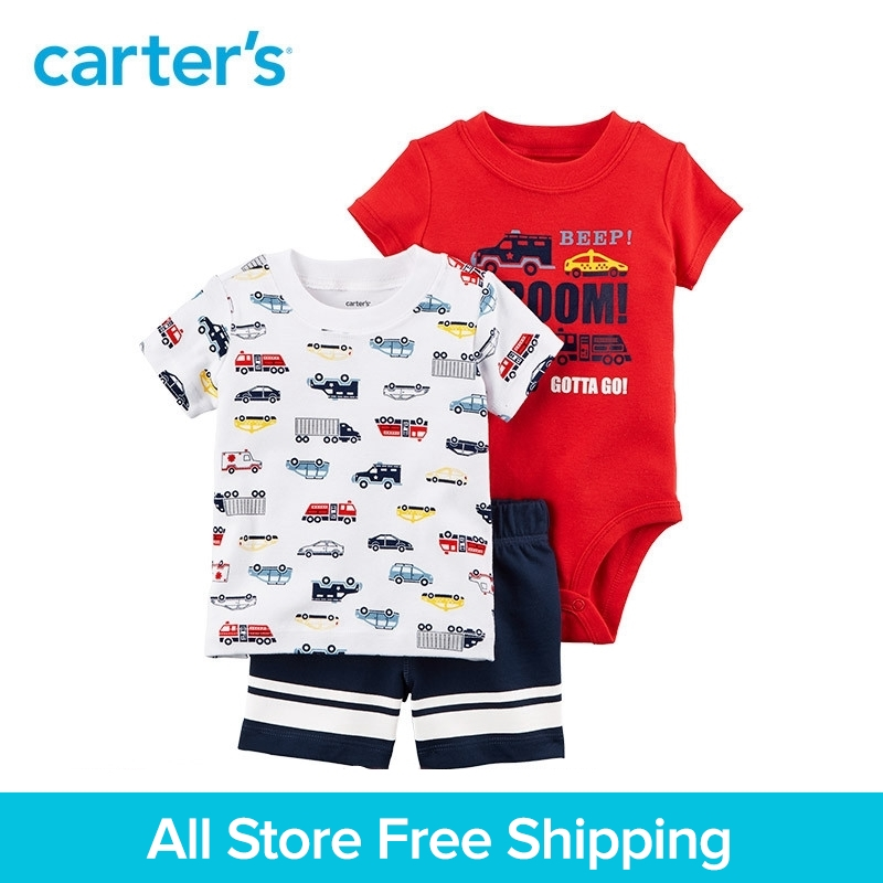 3pcs transportation tee bodysuit shorts clothing sets Carter's baby boy soft cotton Summer 121I388 contrast trim ribbed tee with striped shorts