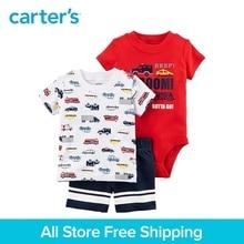 3pcs transportation tee bodysuit shorts clothing sets Carter's baby boy soft cotton Summer 121I388