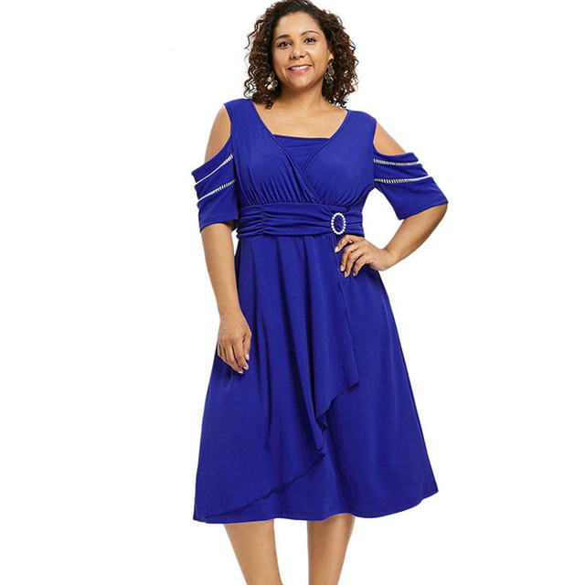 5d00e507c9f PlusMiss Plus Size Vintage Retro Cold Shoulder Midi Dress 5XL Women  Clothing Big Size Party Dresses