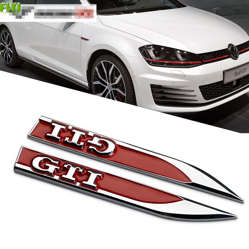 2pcs GTI Emblems Badge 3D Car Sticker Side Metal Knife Type Fender GTI For VOLKSWAGEN VW Golf 6 Golf 7 MK4 MK5 MK6 MK7 GTI CC turbo discharge pipe conversion kit for vw golf gti mk5 mk6 audi tt a3 2 0t