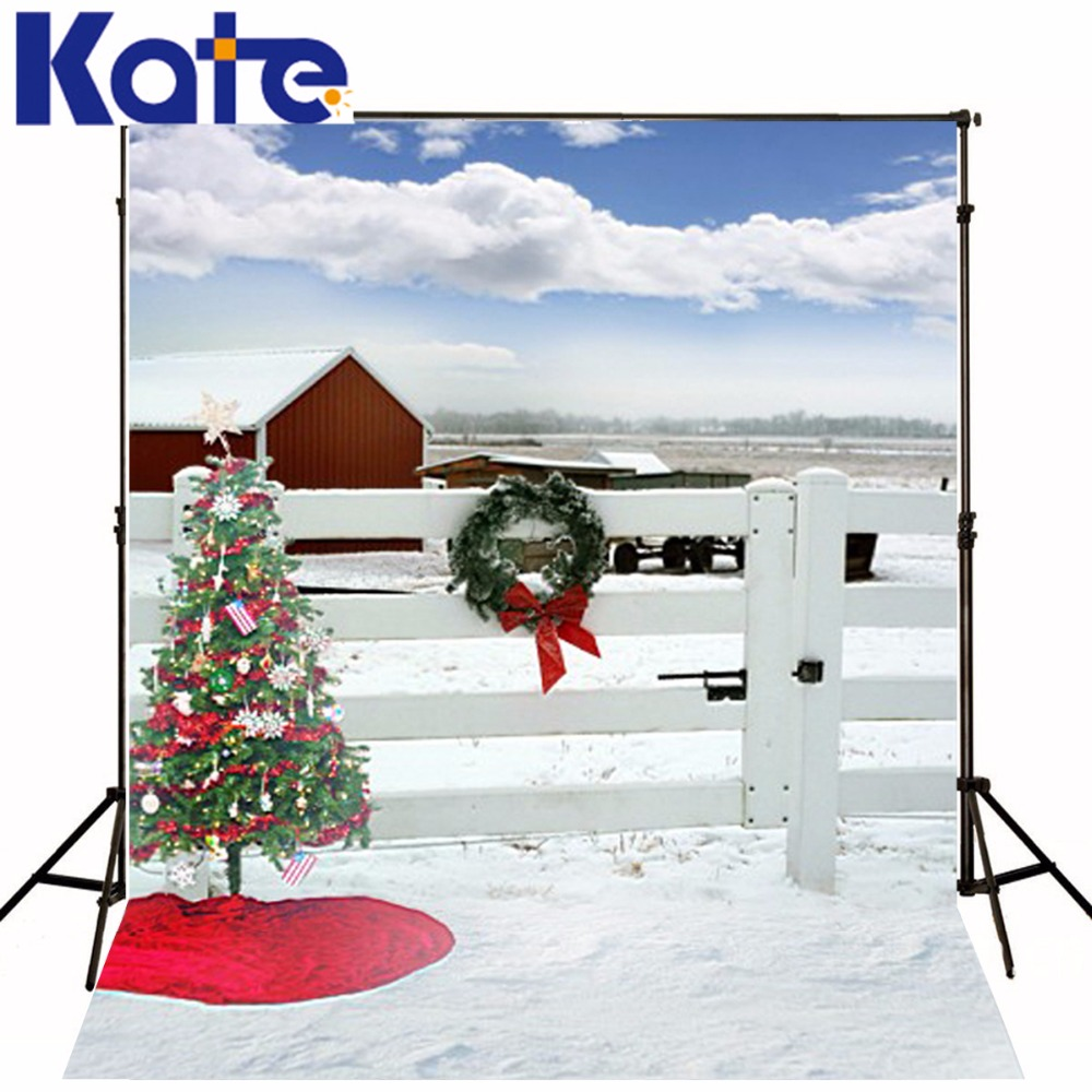 Kate Winter Photo Backdrop With Christmas Tree White Fence Photography Backdrops House Photographic Background For Children цена и фото