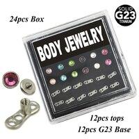 Plana CZ Top Dérmica Âncora Cabeça com Base de G23 Titanium Body piercing Jóias Box Set 24 pcs