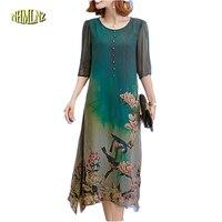 Free Shiping 2017 New Summer Fashion Loose Style Large Size Women Dress Elegant O Neck Printing