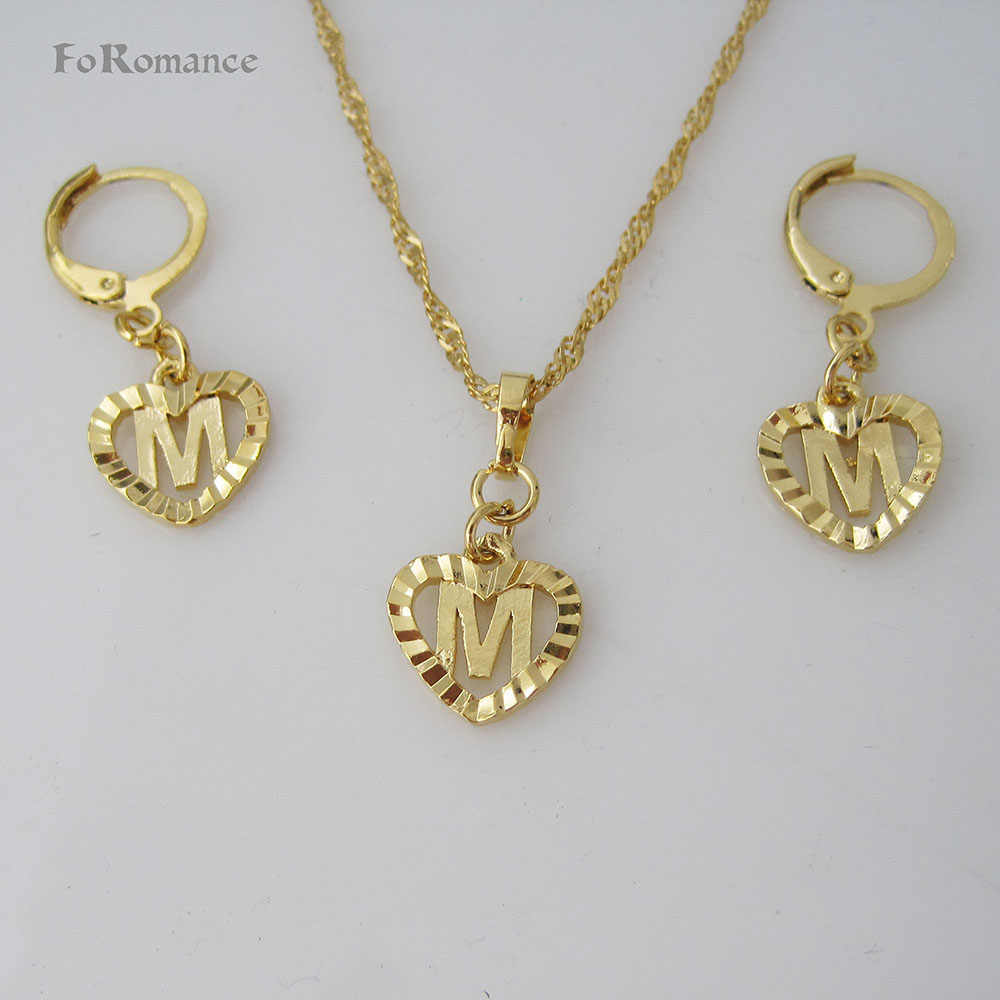 "FoRomance- HIGH QUALITY GOLD GP OVERLAY 26 LETTERS  FROM A TO  T HEART LINE CARVED PENDANT 18"" WATER WAVE NECKLACE EARRING SET"