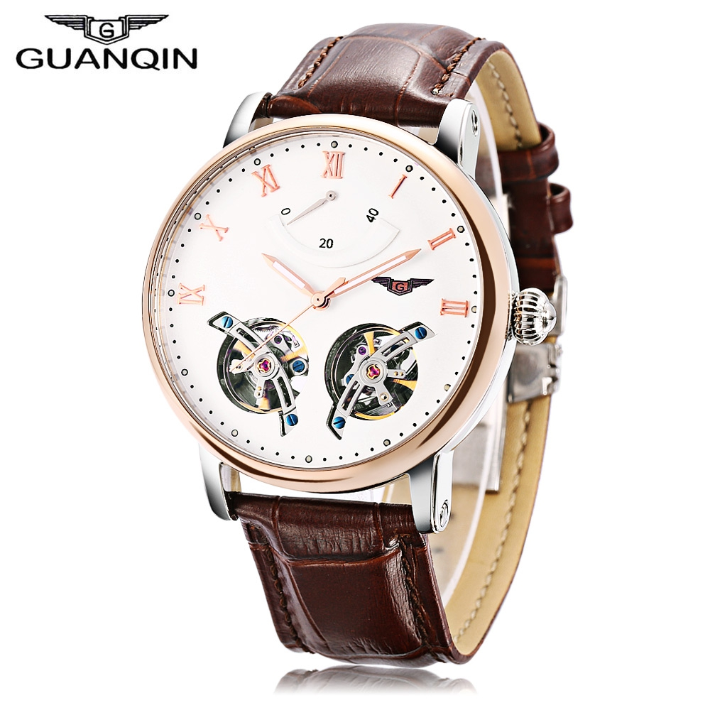 GUANQIN GJ16046 Men Genuine Leather Strap Self-Wind Watch Imported Japan Automatic Mechanical Movement Business Wristwatches mini focus starry business women watch rhinestone sandy dial round case genuine leather strap quartz movement lady wristwatches