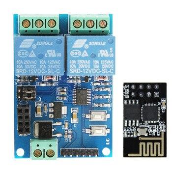 12 v ESP8266 ESP-01 2 Wi-fi Canal Módulo de Relé Para IOT APP Telefone de Casa Inteligente Controlador Onboard ESP01