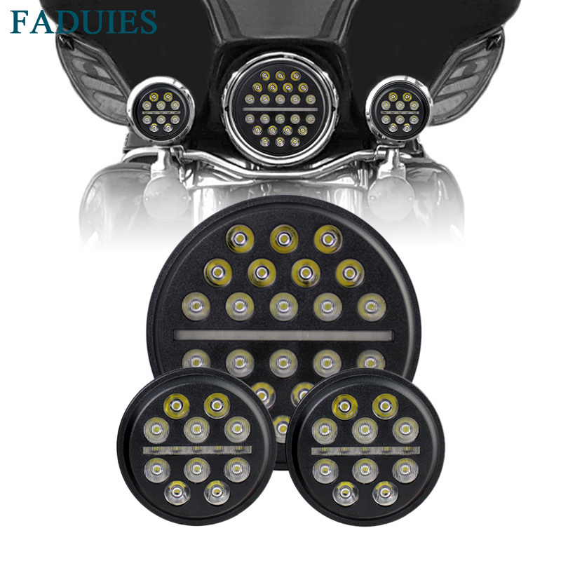 FADUIES 1set 7 Daymaker LED Projection Headlight with DRL + 4 1/2 30W LED Auxiliary Fog For Harley Motorcycles Touring Trike