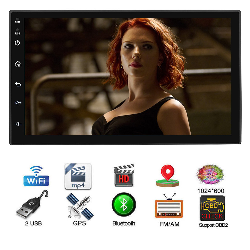 "7"" Android 8.1 Car No DVD Player Bluetooth Multimedia Car Audio Stereo MP5 Player 2 DIN Touch Screen Universal GPS Navigation"
