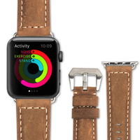 QIALINO Vintage Nostalgia Business Style Fashion Genuine Leather Watch Strap For Apple For IWatch Series3 2