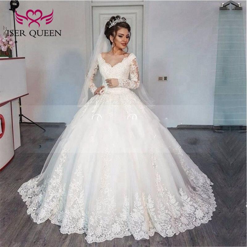 Elegant V Neck Long Sleeve Muslim Arab Wedding Dress Ball Gown Lace Up Back Court Train Plus Size Wedding Gown China W0013