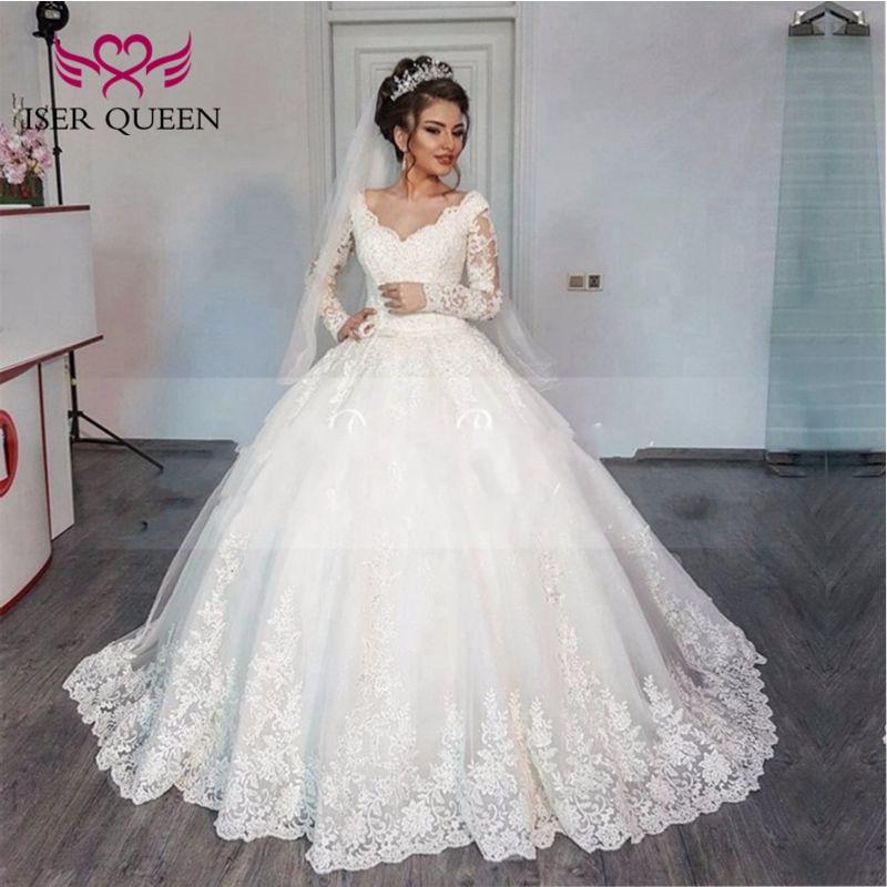 Elegant V neck Long sleeve Muslim Arab Wedding Dresses Ball Gown Plus Size Lace up back Court train Lace Vintage Wedding Gown